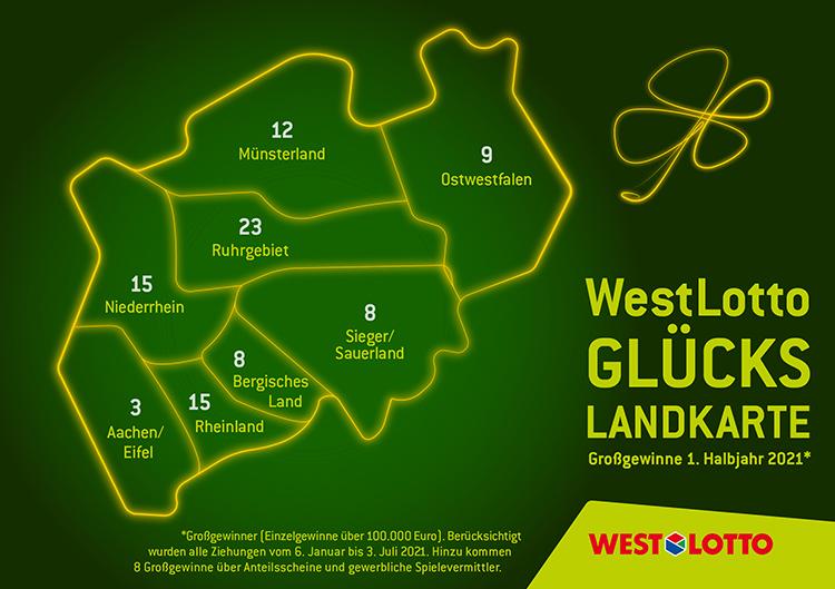 Glückslandkarte NRW Großgewinner 1. Halbjahr 2021